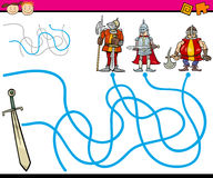 Paths or maze cartoon game Royalty Free Stock Image