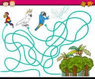 Paths or maze cartoon game. Cartoon Illustration of Education Paths or Maze Game for Preschool Children with Parrots Birds Royalty Free Stock Image