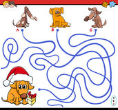 Paths maze game with cartoon dogs Stock Image
