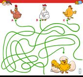 Paths maze game with hens and chickens Royalty Free Stock Images