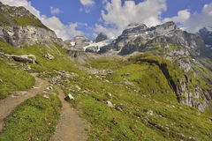 Paths and mountain trails from Oeschinensee, Kandersteg. Berner Oberland. Switzerland Royalty Free Stock Photo