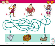 Paths puzzle educational task Stock Images