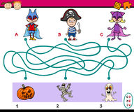Paths puzzle task for kids. Cartoon Illustration of Education Paths or Maze Puzzle Task for Preschoolers with Children and Halloween Themes Royalty Free Stock Photos