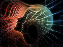 Paths of Soul Geometry. Geometry of Soul series. Graphic composition of profile lines of human head to serve as complimentary design for subject of education Stock Photography