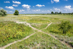 Paths in the steppe Stock Image