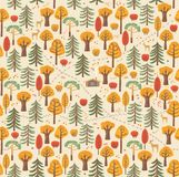 Paths, traces of animals, bushes, berries, leaves make up a beautiful autumn forest pattern. Seamless pattern Royalty Free Stock Photo