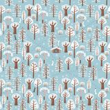 Paths, traces of animals, bushes, make up a beautiful winter forest pattern. Vector graphics. Seamless Pattern Royalty Free Stock Photo