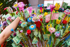 Pathum Thani, Thailand, -May,10,2017 : Thai buddhist people merit they money with insert money to stick they call 'money tree' du royalty free stock photos