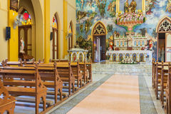 PATHUMTANI TAJLANDIA, LUTY, - 28: Wnętrza katolik c fotografia stock
