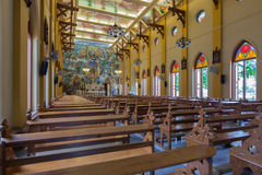 PATHUMTANI, THAILAND - FEBRUARY 28 : The interiors of Catholic c. Hurch, It was built with French Style since 1910, people can pray for god jesus in there, at Royalty Free Stock Photography