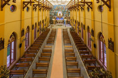 PATHUMTANI, THAILAND - FEBRUARY 28 : The interiors of Catholic c. Hurch, It was built with French Style since 1910, people can pray for god jesus in there, at Royalty Free Stock Image