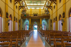 PATHUMTANI, THAILAND - FEBRUARY 28 : The interiors of Catholic c. Hurch, It was built with French Style since 1910, people can pray for god jesus in there, at royalty free stock photo