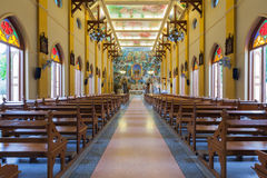 PATHUMTANI, THAILAND - FEBRUARY 28 : The interiors of Catholic c. Hurch, It was built with French Style since 1910, people can pray for god jesus in there, at Royalty Free Stock Photos
