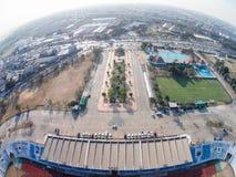 PATHUMTHANI,泰国16日2015年:Thupatemee Stadiu鸟瞰图  库存照片