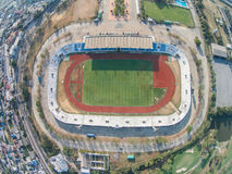 PATHUMTHANI ,THAILAND 16 ,2015: Aerial view of Thupatemee Stadiu. M ,Rangsit-Air Force Central F.C., Thai Division 1 league ,Thailand Stock Image