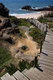 Pathway. Wood pathway along a beach cliff royalty free stock photography
