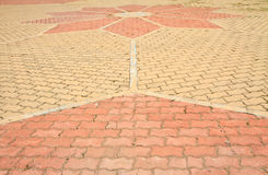 Pathway. In Garden with concrete bumps royalty free stock photos