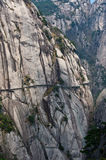 Pathway along the abyss. A (not longer used) pathway in the Huangshan (Yellow) Mountains Royalty Free Stock Images
