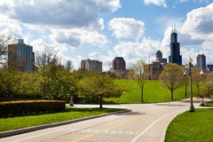 Pathway along lake front with Chicago skyline in background Royalty Free Stock Photography