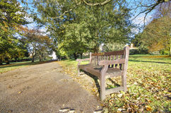 Pathway bench in a public park Royalty Free Stock Photography