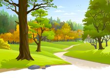 Pathway through a blissful forest stock illustration