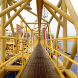 The pathway bridge of offshore oil rig platform Royalty Free Stock Photos