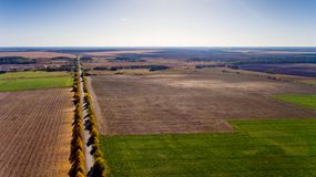 Pathway in the bright autumn. Aerial view Stock Images
