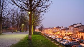 Pathway and cars in Treviso, Italy Royalty Free Stock Photography