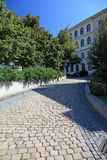 Pathway in central Prague. Cobbled walk way in Prague, Czech Stock Images