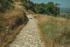 Pathway covered by bushes and rocks near Monsanto. Stone pathway passing through hillside covered by pretty flowers scattered around dry bushes and rocks, near royalty free stock images