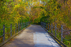Pathway in the early autumn in Arlington, Virginia. Scenic road along Potomac River in early fall Royalty Free Stock Photo