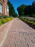 Pathway between flowerbeds. Pathway paved with ceramic tile Royalty Free Stock Image