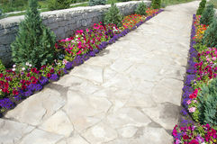 Pathway with flowers Royalty Free Stock Photography