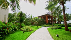 Pathway among flowers grass to pavilion in hotel tropical park stock footage