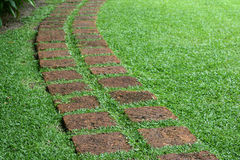 Pathway formed slabs stone Royalty Free Stock Photo