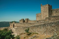 Pathway going to the gate at the wall of the Marvao Castle royalty free stock image