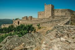 Pathway going to the gate at the wall of the Marvao Castle stock photography