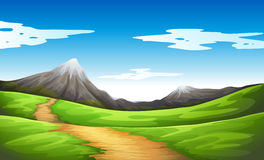 A pathway going to the mountain. Illustration of a pathway going to the mountain Stock Photography