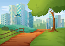A pathway going to the tall buildings. Illustration of a pathway going to the tall buildings Royalty Free Stock Photography