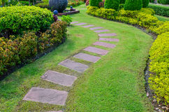 Pathway with green grass in garden Royalty Free Stock Photos