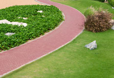 pathway with green grass in garden Royalty Free Stock Photography