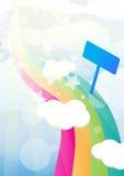 Pathway on heaven Background. Rainbow pathway  colorful on heaven Background and guide post Stock Image