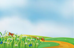 A pathway at the hill. Illustration of a pathway at the hill Royalty Free Stock Photo