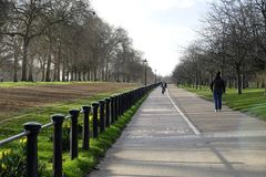 A pathway in Hyde Park with a dedicate section for cycling. Patway and bycicle track alongside Rotten Row in Hyde Park, London, UK Royalty Free Stock Image
