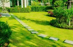 Free Pathway In Garden, Green Lawns With Bricks Pathways, Garden Landscape Design Royalty Free Stock Images - 185204249