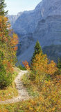 Pathway in the karwendel, autumnal austrian landscape Stock Image