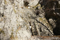 Pathway with ladder through canyon in Prosiecka valley, Slovakia Stock Photo