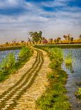 Pathway between the lakes at Dubai Love Lake stock images