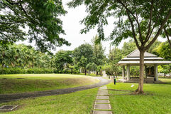 Pathway on lawn. Royalty Free Stock Images