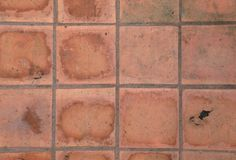 The pathway made of tile. The pathway made of tile have stain and dirty and fungus Stock Photo